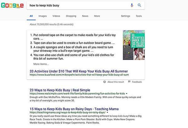 Google relevant result